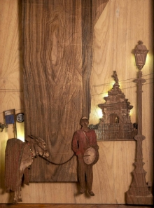 Teak Wood Sculpture titled 'Fountain Of Music' by artist Shriram Mandale