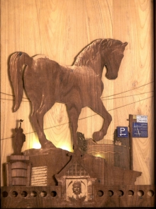 Teak Wood Sculpture titled 'Mid Gallop' by artist Shriram Mandale