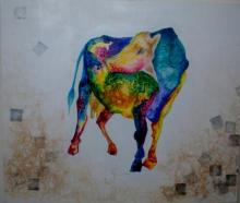 Animals Mixed-media Art Painting title Kamadhenu by artist Shuchi Khanna