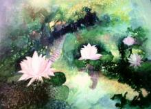 Shuchi Khanna | Acrylic Painting title Lotus Pond on Canvas | Artist Shuchi Khanna Gallery | ArtZolo.com