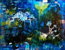 Abstract Mixed-media Art Painting title Blissful Blues by artist Shuchi Khanna