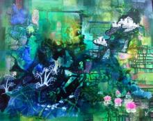 Abstract Mixed-media Art Painting title Glorious Greens by artist Shuchi Khanna