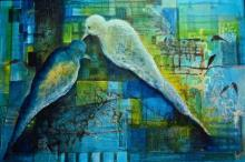 Animals Mixed-media Art Painting title Love Birds by artist Shuchi Khanna