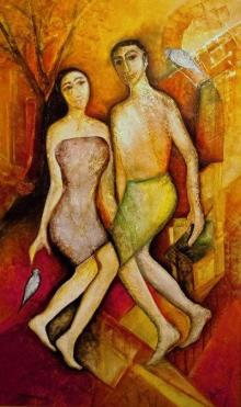 Figurative Mixed-media Art Painting title You And I by artist Shuchi Khanna