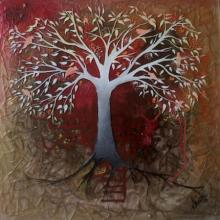 Realistic Mixed-media Art Painting title Red Tree by artist Shuchi Khanna