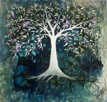 Realistic Mixed-media Art Painting title Blue Tree by artist Shuchi Khanna