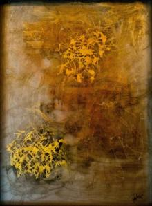 Abstract Mixed-media Art Painting title Golden by artist Shuchi Khanna
