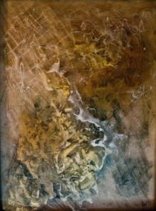 Abstract Mixed-media Art Painting title Copper by artist Shuchi Khanna
