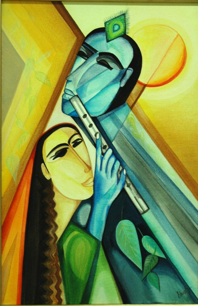 Radha Krishna by artist Shuchi Khanna acrylic Paintings : 4 from www.artzolo.com size 800 x 1234 jpeg 128kB