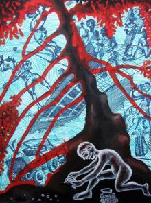Fantasy Acrylic Art Painting title 'Child Hood' by artist Mithun Dasgupta