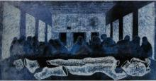 Fantasy Fabric Art Painting title The Last Supper by artist Mithun Dasgupta