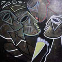 Figurative Acrylic Art Painting title 'Multiples Faces I' by artist Kapil Kumar