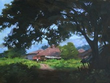 Landscape Oil Art Painting title 'Garden' by artist Manoj Deshmukh