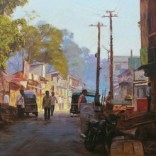 Cityscape Oil Art Painting title 'Golden Morning' by artist Manoj Deshmukh