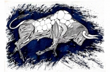 Animals Pen-ink Art Drawing title 'Blue Bull Series 6' by artist Rashid Ahamad