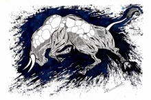 Animals Pen-ink Art Drawing title 'Blue Bull Series 8' by artist Rashid Ahamad