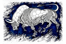 Animals Pen-ink Art Drawing title 'Blue Bull Series 9' by artist Rashid Ahamad