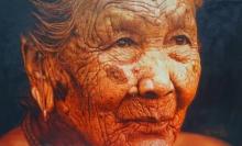 Portrait Oil Art Painting title Pure Contentment 1 by artist Rajnikanta Singh
