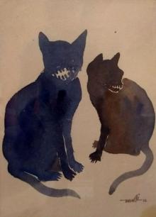 art, painting, watercolor, paper, animal, cat