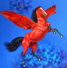 Animals Acrylic Art Painting title 'Flying Horse 1' by artist Sanket Sawant