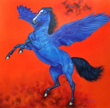 Animals Acrylic Art Painting title 'Flying Horse 2' by artist Sanket Sawant