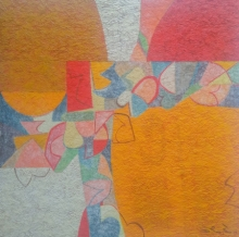 Abstract Mixed-media Art Painting title 'Untitled 39' by artist Bhushan Bhombale
