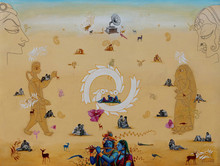 Religious Acrylic Art Painting title Radha Krishna by artist Rawindra Das