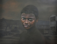 Figurative Oil Art Painting title The Black Truth 1 by artist Ranjeet Singh