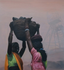 Figurative Oil Art Painting title 'The Black Truth 9' by artist Ranjeet Singh