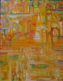 Landscape Acrylic Art Painting title The River 2 by artist Ranadip Mukherjee