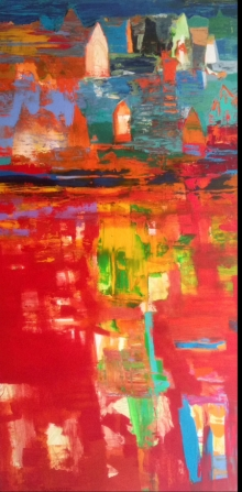 Abstract Acrylic Art Painting title 'Untitled 3' by artist Ranadip Mukherjee