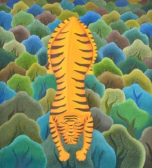 Animals Oil Art Painting title Tiger In Forest by artist Naveena Ganjoo