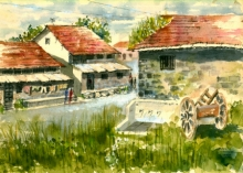Landscape Watercolor Art Painting title 'Chandrapur Houses' by artist Ramessh Barpande