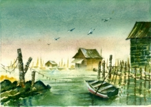 Seascape Watercolor Art Painting title 'Harbour At Albania' by artist Ramessh Barpande