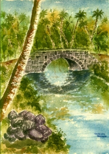 Landscape Watercolor Art Painting title 'River Bridge In Jungle' by artist Ramessh Barpande