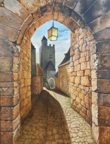 Cityscape Oil Art Painting title Street Stone by artist Dhirendra Mandge