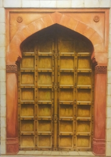 Landscape Oil Art Painting title The Door by artist Dhirendra Mandge