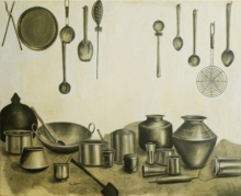 contemporary Charcoal Art Painting title Untitled by artist Divya Chinni