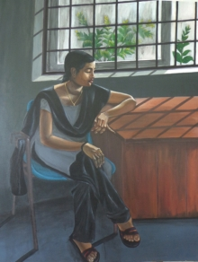 Figurative Acrylic Art Painting title 'Pensive Mood' by artist Divya Chinni