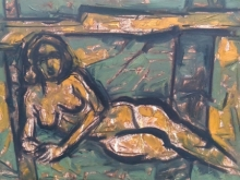 Nude Acrylic Art Painting title 'Untitled 86' by artist Santoshkumar Patil