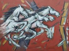 Animals Oil Art Painting title 'Untitled 96' by artist Santoshkumar Patil