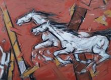Animals Oil Art Painting title 'Untitled 97' by artist Santoshkumar Patil