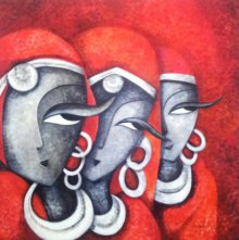 Figurative Acrylic Art Painting title 'Mesmerizers201248 X 48acrylic On Canvas' by artist Sarang Singla