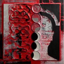 Scarlet Tides Duality Of Grey - I | Mixed_media by artist Vivek Rao | wood and acrylic