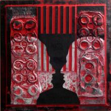 Vivek Rao | Scarlet Tides Duality Of Grey IV Mixed media by artist Vivek Rao on wood and acrylic | ArtZolo.com