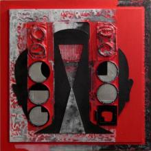 Vivek Rao | Scarlet Tides Duality Of Grey V Mixed media by artist Vivek Rao on wood and acrylic | ArtZolo.com
