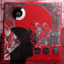 Vivek Rao | Scarlet Tides Duality Of Grey X Mixed media by artist Vivek Rao on wood and acrylic | ArtZolo.com