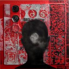 Vivek Rao | Scarlet Tides Duality Of Grey XI Mixed media by artist Vivek Rao on wood and acrylic | ArtZolo.com