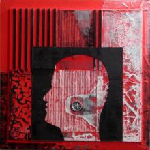 Vivek Rao | Scarlet Tides Duality Of Grey VII Mixed media by artist Vivek Rao on wood and acrylic | ArtZolo.com