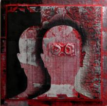 Vivek Rao | Scarlet Tides Duality Of Grey XIV Mixed media by artist Vivek Rao on wood and acrylic | ArtZolo.com